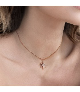 Collier Argent Rose et Pierres APM Monaco Collection METEORITES Rose RP9606OX