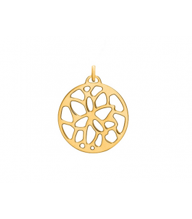 Pendentif Rond Les Georgettes 25mm Nénuphar Finition Or Jaune